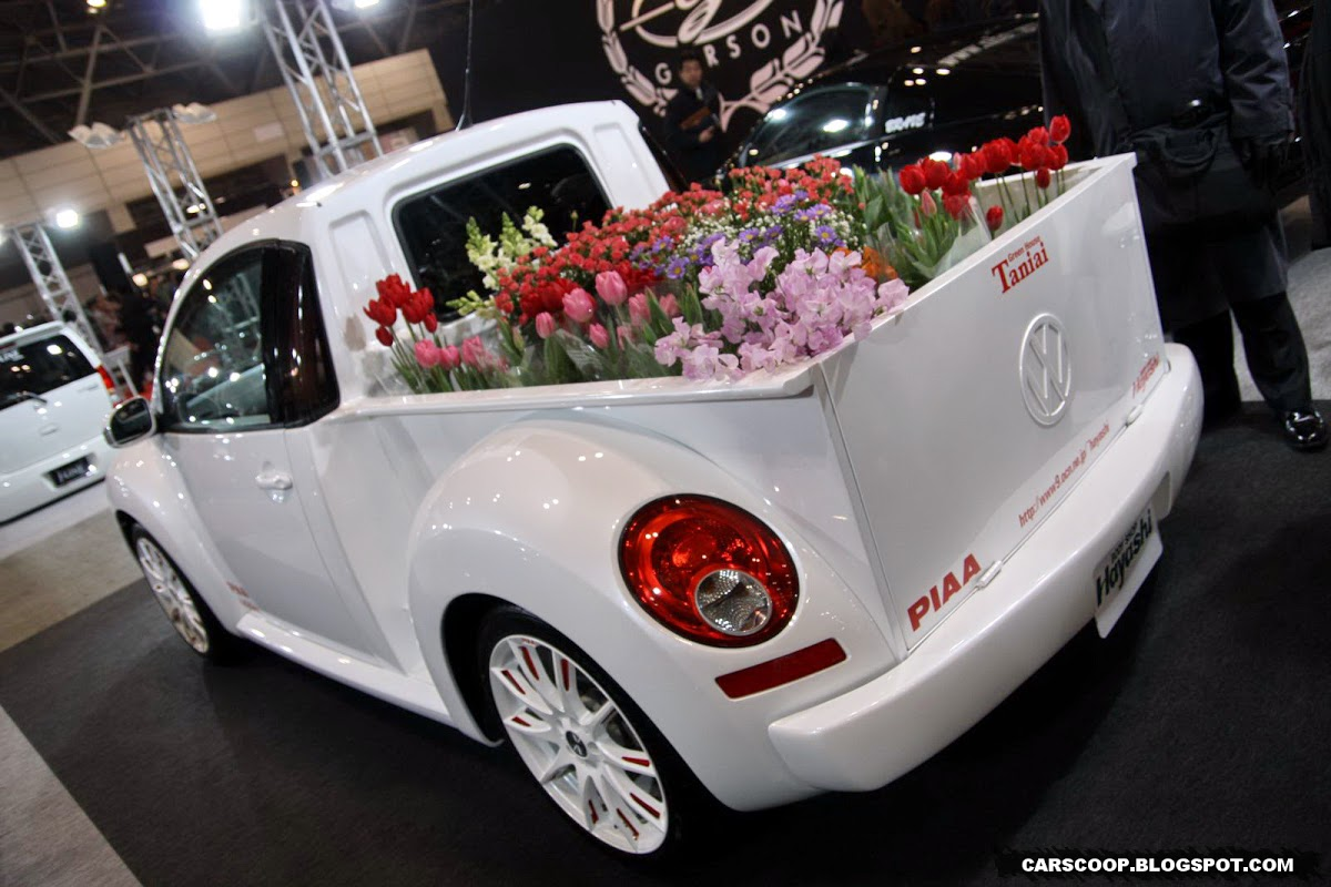 Volkswagen New Beetle pick-up truck edition has everything you need for hauling flowers